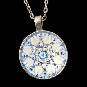 NEW PENDANT Om Flower Mandala GLASS Cabochon